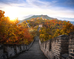 Chinese Great wall in Autumn (anekphoto) Tags: wall china great sunset beijing landmark famous asia sky chinese old landscape architecture ancient stone mountain nature travel culture tourism history hill brick wonder outdoors building cloud world asian border badaling structure path protection oriental defense dynasty beautiful sunshine scenic clouds scenery monument destination miracle jinshanling autumn hight big morning