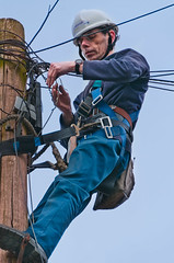 """110311 BT Engineer 74 (hoffman) Tags: bt engineer work telephone pole wire cable maintenance climbing davidhoffman davidhoffmanphotolibrary socialissues reportage stockphotos""""stock photostock photography"""" stockphotographs""""documentarywwwhoffmanphotoscom copyright"""