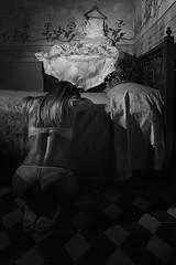 Fears (nicolamarongiu) Tags: biancoenero blackandwhite concept concettuale matrimonio wedding decadence decadenza vecchiacasa sposa disperata film abitodasposa studio luce flash nude