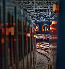 The ConstruKction of Light (whosoever2) Tags: uk gb england nikon d7100 train railway railroad november 2018 liverpool lime street class158 reflection light tunnel