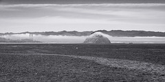 20180504_cayucos_bw_003 (petamini_pix) Tags: california blackandwhite blackwhite bw monochrome grayscale cayucos morrowrock morrowbay fog smokestacks powerplant water panoramic panorama unusual landscape sky sea ocean mountain