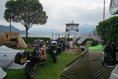 Tight quarters (Dominic Sagar) Tags: 2017 adriatic alps andrewmacbeanpeters europe t050 t100 t150 camping motorcycle tent bellano lombardia italy it