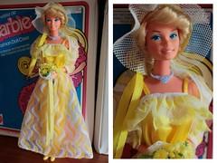 Pretty Changes Barbie (1978) (DeanReen) Tags: vintage superstar pretty changes barbie change yellow white tnt era sculpt blonde bubble blond bob bouffant jumpsuit skirt jacket ruffle flowers case candidan european foreign exclusive