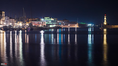 View of the old harbour (Snoopix_) Tags: sony a6000 a6k ilce6000 helios 44m4 oldharbour chania crete greece lighthouse longexposure lights reflections sea night nightphotgraphy