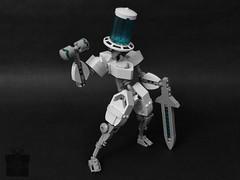 Vaihden: Fusion-Powered Gentleman (AlexParkDesigns) Tags: robot mecha anime mech bot white blue future tech energy sword figure toy lego bionicle technic scene