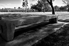 bench (aakeene) Tags: bw blackandwhite bench concrete park tucson arizona