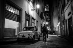 Florence, Italy (Richard Lehoux) Tags: florence italy streetphotography night car fiat blackwhite blackandwhite monochrome street