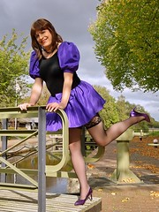 Playful Paula (Paula Satijn) Tags: sexy girl hot babe smile sweet cute skirt miniskirt dress purple stockings lace legs heels pumps fun joy outside stroll lady girly feminine elegant pretty satin canal lock sensual happy adorable