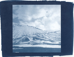 snowy slope (lawatt) Tags: bláfjöll mountain slope snow skiarea clouds iceland altprocess cyanotype traditional revereplatinum