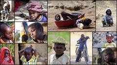 Garçons d'Afrique (Thierry LARERE) Tags: afrique portrait scènedevie photomontage enfant garçon bassine keffieh chapeau herbe vélo bicyclette mosaïque