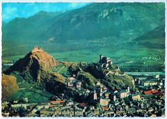 Sion - Aerial View (pepandtim) Tags: postcard old early nostalgia nostalgic sion aerial view carte postale service aérien perrochet lausanne 38sav42 swiss switzerland valais