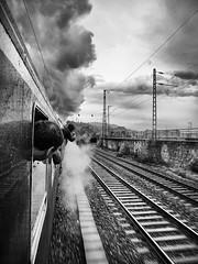 Smoke and steam (Georgie Pauwels) Tags: smoke steam railway train nostalgia oldtimes blackandwhite travel olympus