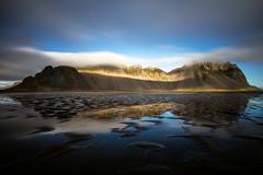 Vestrahorn reflections (Marco de Fazio) Tags: 2018 iceland lake idyllic hill landscape sunrise scenery scenic mountainrange mountain picturesque rockmountain scenics vestrahorn reflections longexposure