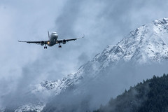 Approaching Queenstown (OzzRod (on the wallaby)) Tags: pentax k3 smcpentaxda55300mmf458 aeroplane plane airnewzealand airbusa320 landing mountains snow cloud queenstown newzealand