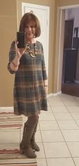 Cognac/Amber plaid sweatr dress (krislagreen) Tags: tg transgender transvestite tgirl cd crossdresser dress sweaterdress tights boots xdresser femme feminzation feminize feminized redhead