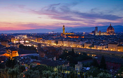 Florence by night (cliffwilliams449) Tags: blue florence night pink glow tuscany italy photograph cliffwilliams nightshot cityscape