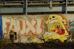 """FAUX"" graffiti @ Sentier du Rhône @ Geneva (*_*) Tags: geneva switzerland sunny suisse geneve autumn fall october 2018 afternoon europe city sentierdurhone river walk"