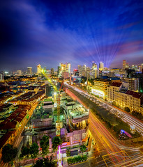 Revamping (Rexer Ong) Tags: cityscape trails cranes colours nightscape laser lights luminous traffic