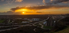 Castle Hill panorama (James Waghorn) Tags: nikkor35mmf18 folkestone nikon winter train track sunset panorama kent d7100 clouds england channeltunnel cheriton