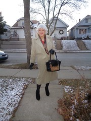A Woman At Heart (Laurette Victoria) Tags: booties coat trenchcoat gloves purse winter laurette woman scarf