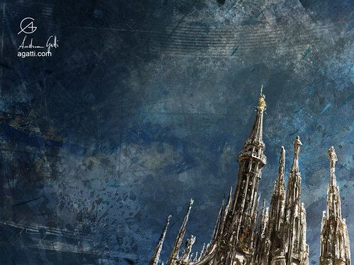 Milan Cathedral Spires dark