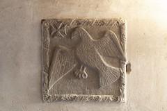 Plaque in St. John's House, Bridgend (alunb) Tags: bridgend maltesecross stjohn tudor eagle medieval plaque