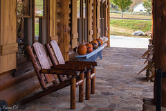Another Monday. . .HBM (Irina1010) Tags: chairs bench pumpkins wood terace mountains canon