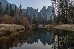 Cathedral Rocks (Darvin Atkeson) Tags: california yosemite national park halfdome elcapitan bridalveil forest sierra nevada mountains clouds rest valley canyon glacier darv darvin lynneal atkeson yosemitelandscapescom