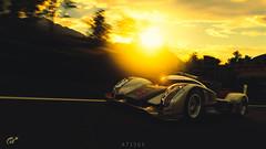 Audi R18 (at1503) Tags: car racingcar audi r18 audir18 sunset italy sun yellow eveninglight sky orange track circuit clouds speed motion blur movement germancar gtsport granturismo granturismosport motorsport racing game gaming ps4