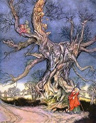 """Major Andre's tree."" Illustration by Arthur Rackham (lhboudreau) Tags: gnome gnomes anthropomorphic tree trees twisted branch branches witch cat animal road trail fence majorandrestree supernatural fright frightening treegnome treegnomes wood woods books book hardcover illustratedbook illustratedbooks childrensbook illustrations art drawings arthurrackham artist illustrator bookillustrator bookart illustration drawing bookillustration illustratedbyarthurrackham hardcoveredition 1928 mckay davidmckay davidmckaycompany legendofsleepyhollow thelegendofsleepyhollow irving washingtonirving sky painting davidmckayco cane hat rackham"