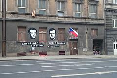 victims of communism (t.horak) Tags: street arrows traffic sign grey decay communism czech czechoslovakia flag two victims portrait men heroes prague praha palach toufar documentary face