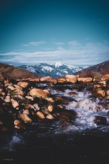 Three Rivers (Phil Orr) Tags: sequoia pentax fixedlens 50mm cameralens lens camera blue sundown outdoors outside naturephotography rocks river water snow mountain clouds sky nature landscapephotography landscape photography photo threerivers