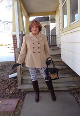 Perhaps Not The Prettiest Woman In The World, And Certainly Not The Youngest, But A Woman Nonetheless (Laurette Victoria) Tags: laurette woman boots leggings coat purse gloves
