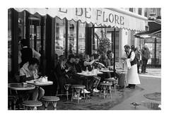 A well-known coffee terrace (madras91) Tags: nb noiretblanc blackandwhite bw monochrome film ilford hp5 iiif leicaiiif summitar5cmf2 50mm summitar streetphotography paris