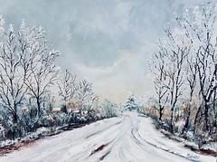 Winter path (Mirjana Dolenčić - Painter) Tags: art artwork artist oiloncanvas oilpainting paint painting pathway painter