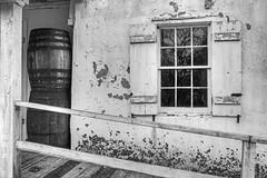 IMG_6186_7_8HDRB&W (foregorp) Tags: fall clinton newjersey colorful leaves blackandwhite blackwhite bw window pane panes shutters handrail railing nature barrels