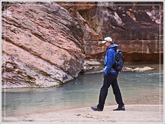 Zion Canyon Hiker (Runemaker) Tags: zion canyon virginriver river water cliff hiker man nationalpark utah landscape nature karl redrock sandstone candid nikon d750