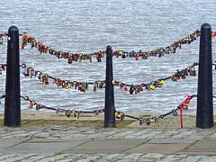 Love Locks, Royal Albert Docks, Liverpool, UK (teresue) Tags: 2017 uk england merseyside liverpool royalalbertdocks united kingdom locks lovelocks rivermersey