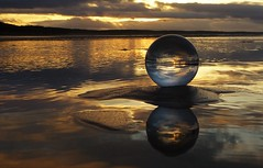 Reflection and Refraction..x (Lisa@Lethen) Tags: lensball photography ball reflections refraction sand beach sea water sunset cloud weather nature winter roseisle scotland morayshire