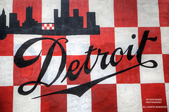 Painting The Town Red (DetroitDerek Photography ( ALL RIGHTS RESERVED )) Tags: allrightsreserved 313 detroit downtown urban paint sign red script detroitderek january 2019 hdr 3exp canon 5d mkii digital eos motown motorcity checker checkerboard white city outline midwest usa america