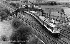 BR Class 47 No 47848 (+56004 at rear) Institute of Mining Engineers Railtour Bennerley Opencast Ilkeston 6th April 1991 (robinstewart.smith) Tags: br class 47 56 bennerley opencast ilkeston ime railtour 1991
