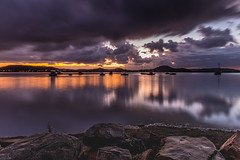 First Light with Heavy Rain Clouds on the Bay (Merrillie) Tags: daybreak sunrise nature australia drizzly tascott overcast boats nsw newsouthwales wet koolewong morning brisbanewater dawn cloudy water landscape earlymorning coastal clouds sky waterscape bay centralcoast outdoors foreshore