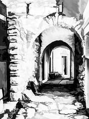 0733LTS2Mi  The Alleyways Of Apeiranthos (foxxyg2) Tags: allets streets apeiranthos naxos cyclades greece mono monochrome bw blackwhite topaz topazsoftware topazstudio silverefex niksoftware dxo