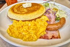 breakfast pancake scramble egg, bacon, sausage RICOH GR 33 (HAMACHI!) Tags: food foodporn foodie foodmacro tokyo 2019 japan ricoh ricohgriii ricohimaging ricohgr gr gr3 griii loadtest cameratest shibuya breakfast pancake scrambleegg