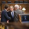 Pablo Casado saluda a Juan Ignacio Zoido en el hemiciclo del Congreso de los Diputados. (15/11/2018)