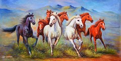 Galloping Horses, Art Painting / Oil Painting For Sale - Arteet™ (arteetgallery) Tags: arteet oil paintings canvas art artwork fine arts field grass animal summer sky meadow ranch silhouette mammal landscape outdoor day spring outdoors clouds wild sunny sun racing animals countryside domestic horizon pasture life yellow black landscapes wildlife fields blue orange paint