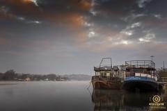 two boats at bideford (kapper22) Tags: boats water tide outdoor bideford north devon bridge sky reflection town yellow orange blue