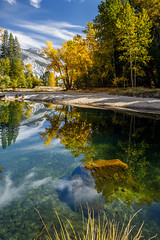 Rock in Emerald Waters (Jeff Sullivan (www.JeffSullivanPhotography.com)) Tags: rock merced river emerald yosemite national park fall colors photography workshop yosemitenationalpark yosemitevalley yosemitevillage mariposacounty california usa nature landscape travel night photographer canon eos 5d mark iv photo copyright 2018 jeff sullivan october reflection clouds