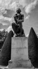 Thinking (MAKER Photography) Tags: paris france smartphone phone lg g3 black white monochrome greyscale yeah sky clouds bush statue monument stone tree leaves