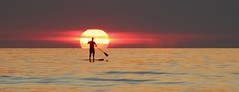 Lone Paddle Boarder at Sunset (iseedre) Tags: paddleboard paddle ocean cloudbank reflections yellow oranges reds standing waves yellows